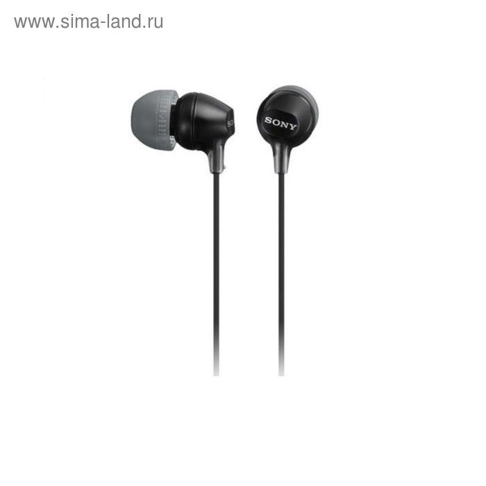 Наушники с микрофоном Sony MDREX15APB.CE7, вкладыши, в ушной раковине, провод 1.2 м, черные