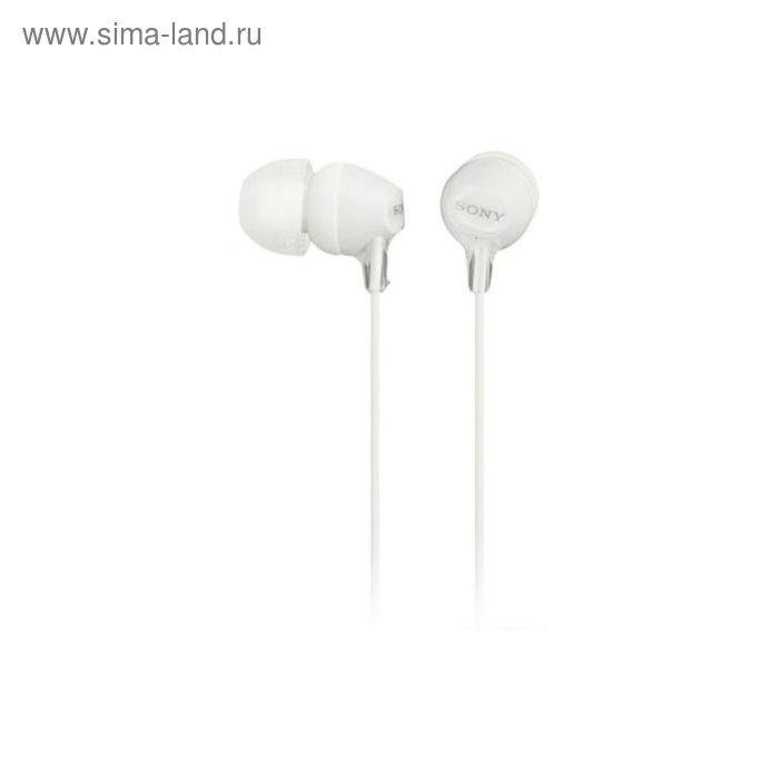 Наушники с микрофоном Sony MDREX15APW.CE7, вкладыши, в ушной раковине, провод 1.2 м, белые