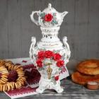 """Самовар электрический с заварником """"Царский"""", в наборе: самовар 4 л и чайник 0,5 л, красная роза"""