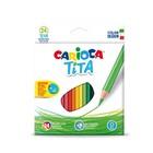 Карандаши пластиковые 24 цвета Carioca Tita 3.0 мм, шестигранные, картонная коробка