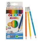 Карандаши акварельные 12 цветов Carioca Acquarell, 3.3 мм, шестигранные матовые, картонная коробка