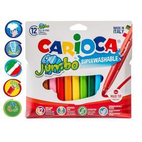"""Фломастеры 12 цветов Carioca """"Jumbo"""" 5 мм, утолщенные, смываемые, картон, европодвес"""
