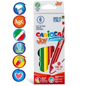 """Фломастеры 6 цветов Carioca """"Joy"""" 2.6 мм, смываемые, картон, европодвес"""