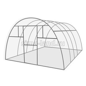 Каркас теплицы «Комфорт», 4 × 3 × 2,1 м, оцинкованная сталь, профиль 20 × 20 мм, шаг 1 м, 1 мм, без поликарбоната Ош
