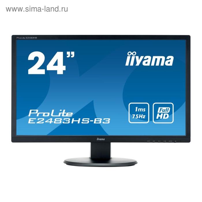 "Монитор Iiyama 24"" E2483HS-B3 TN+film 1ms 16:9 HDMI 1000:1 250cd 170/160 1920x1080 D-Sub DP"