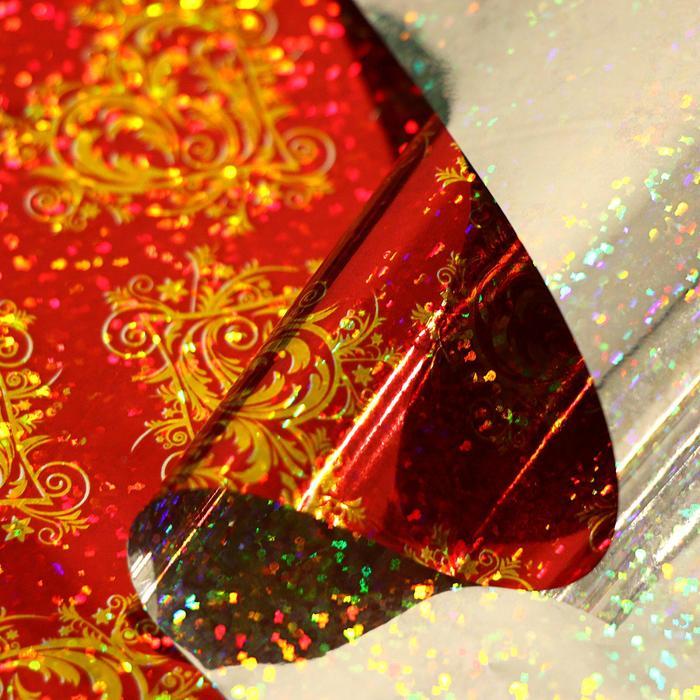 Пленка голография Ажурное сердце, красный, 70 х 100 см