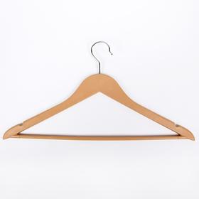 Вешалка-плечики для одежды с перекладиной Доляна, размер 46-48, цвет бежевый