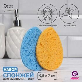 Набор спонжей для умывания «Капля», 9,5 × 7 см, 2 шт, цвет МИКС Ош