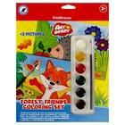 Игра для раскрашивания Forest Friends Coloring Set, акварельные краски 6 цветов + 2 контурных шаблона
