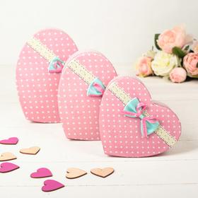 Набор коробок в форме сердца 3 в 1, 21,5 х 20,5 х 9 - 15,5 х 13,5 х 6 см
