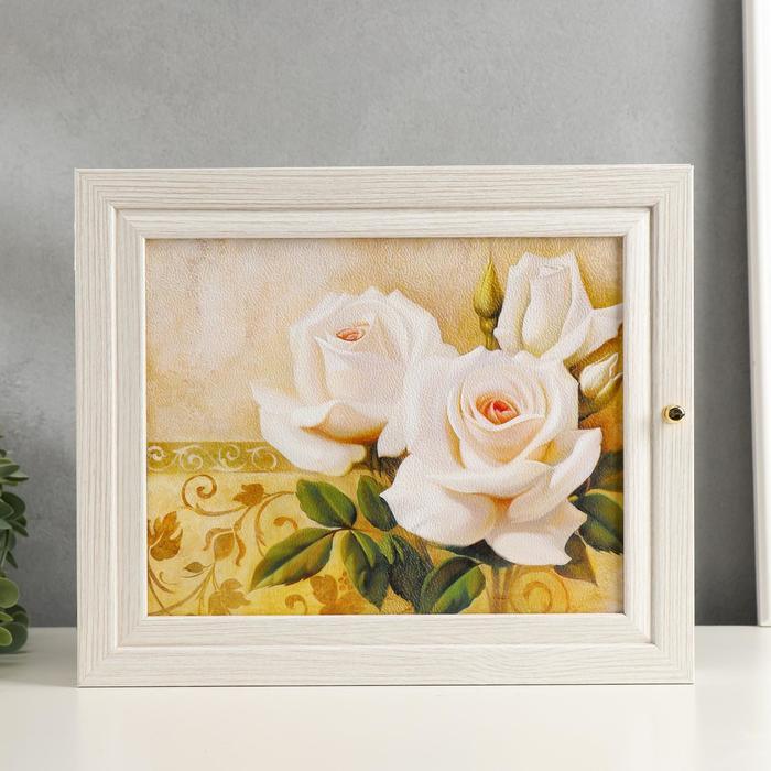 """Ключница """"Белые розы"""" выбеленный дуб 26х31х6см"""
