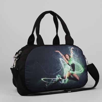 Сумка спортивная, отдел на молнии, длинный ремень, наружный карман, цвет чёрный - Фото 1