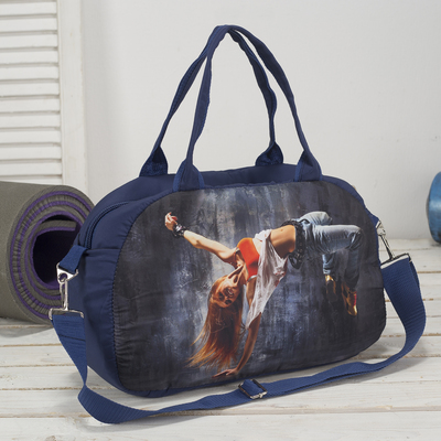 Сумка спортивная, отдел на молнии, наружный карман, цвет синий - Фото 1