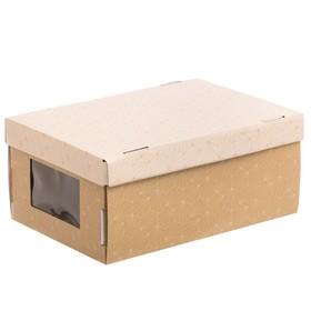 Складная коробка с PVC окошком «Воздушный узор», 34 × 23 × 15 см
