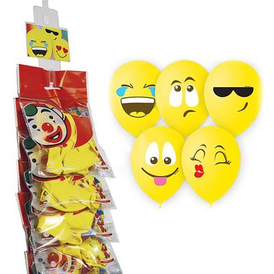 """Шар латексный на стрип-ленте 12"""" «Эмоции. Смайл», 1-сторонний, пастель, набор 5 шт., цвет жёлтый - Фото 1"""