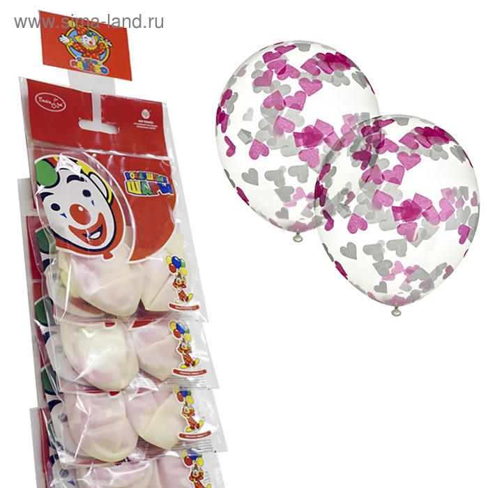 """Шар латексный на стрип-ленте 12"""" """"Прозрачный с конфетти"""", белые и розовые сердца из бумаги, набор 2 шт."""