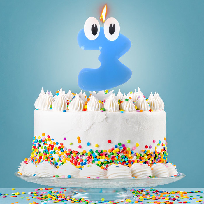 Свеча в торт цифра 3 С днем рождения, малыш