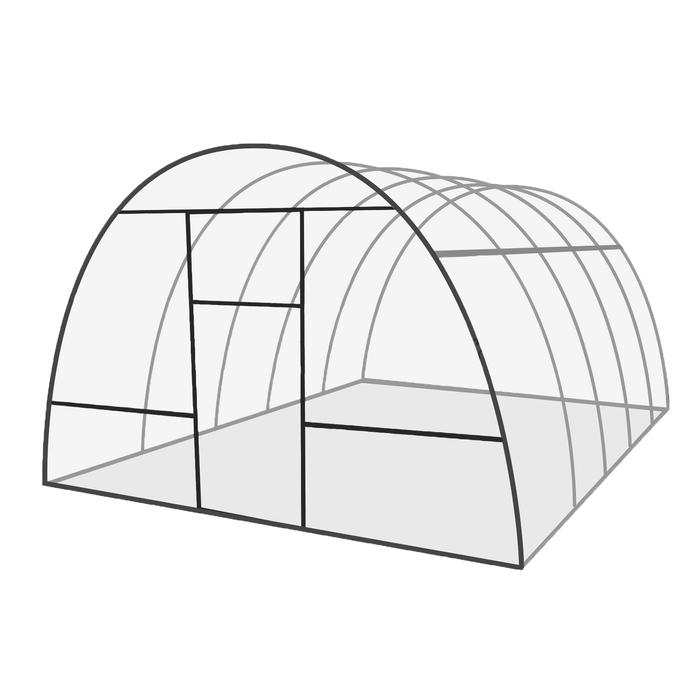 Каркас теплицы «Базовая», 6 × 3 × 2,1 м, оцинкованная сталь, профиль 20 × 20 мм, шаг 1 м, 1 мм, без поликарбоната