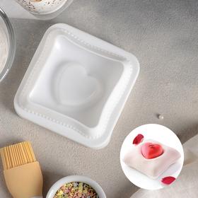 Форма для муссовых десертов и выпечки Доляна «Любовь в квадрате», 12×11,4 см, цвет белый