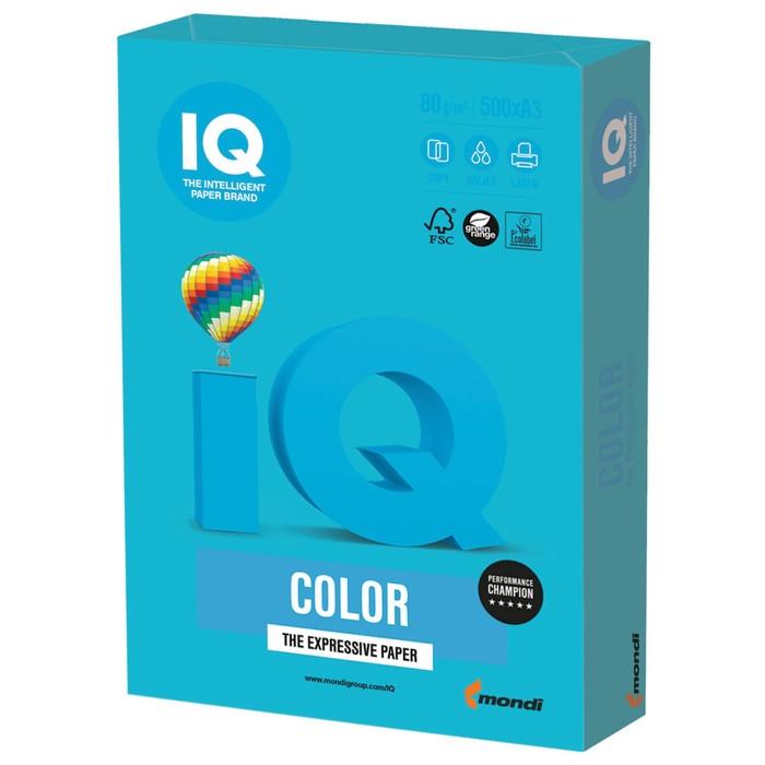 Бумага цветная А3, 500 листов IQ COLOR Intensive, 80г/м2, AB48-светло-синяя