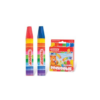 Мелки восковые утолщённые ПИФАГОР, 6 цветов, на масляной основе, яркие цвета