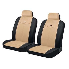 Авточехлы ALCANTARA FRONT, на передние кресла, бежево-черный, трикотаж Ош