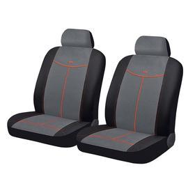 Авточехлы ALCANTARA FRONT, на передние кресла, серый, черный, оранжевый, трикотаж Ош
