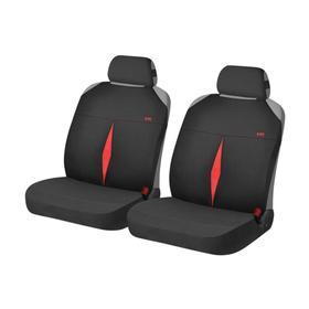 Накидки, на переднее сиденье, KARAT FRONT, черно-красный, трикотаж