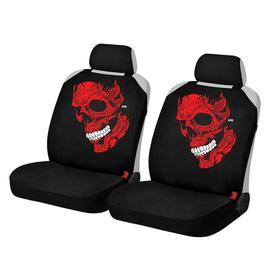 """Накидки, на переднее сиденье, SKULL FRONT, Красный, ткань """"ЭЛАСТИК"""""""