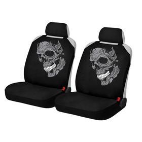"""Накидки, на переднее сиденье, SKULL FRONT, темно-серый, ткань """"ЭЛАСТИК"""""""