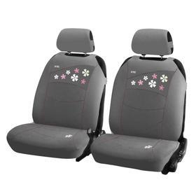 Накидки, на переднее сиденье, FLOWERS FRONT, серый, трикотаж Ош
