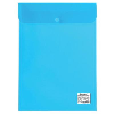 Папка-конверт на кнопке А4, 150 мкм, BRAUBERG, прозрачная, синяя