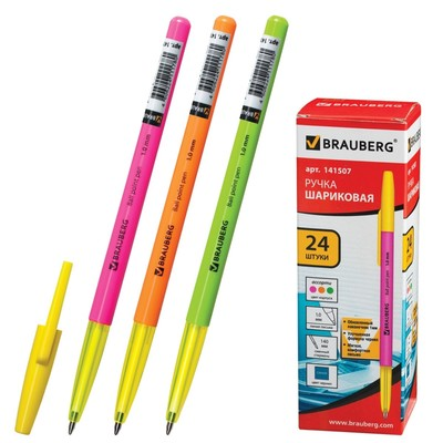 Ручка шариковая 1.0 мм, BRAUBERG Color, чернила синие - Фото 1