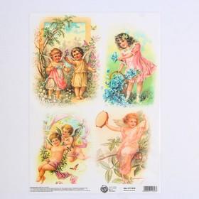 Декупажная карта «Ангелочки», 21 × 29,7 см Ош