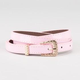 Ремень женский, ширина - 1,4 см, пряжка золото, 2 строчки, цвет розовый Ош