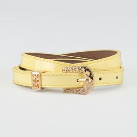 Ремень женский, ширина - 1,4 см, пряжка золото, 2 строчки, цвет жёлтый Ош