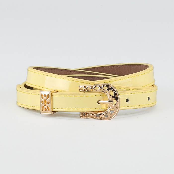 Ремень, ширина - 1,4 см, пряжка золото, 2 строчки, цвет жёлтый