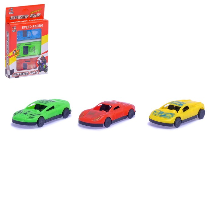Машина «Гонка», набор 3 шт., цвет МИКС