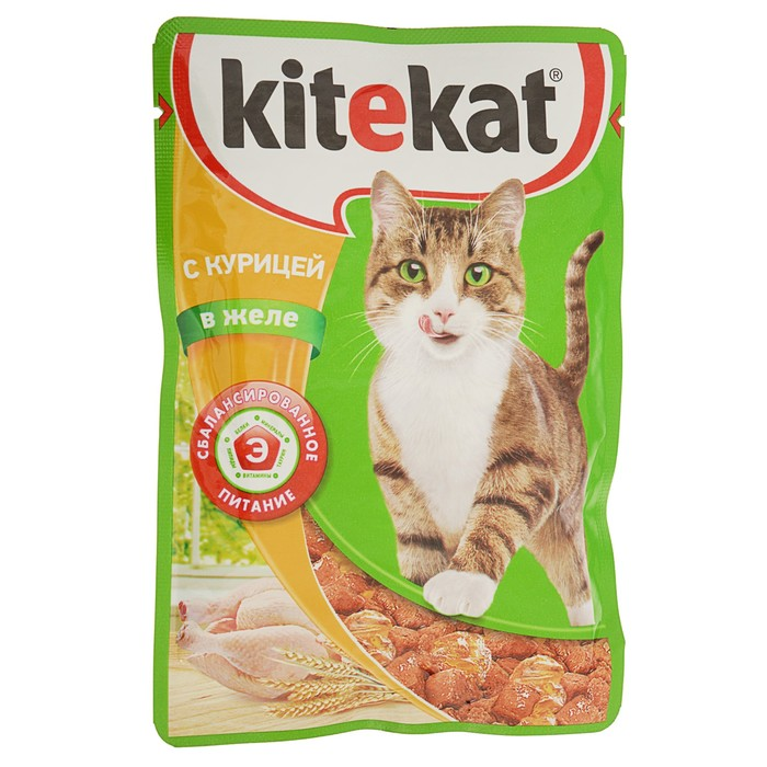 Влажный корм KiteKat для кошек, курица в желе, пауч, 85 г
