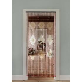 Занавеска декоративная, 90×194 см, 52 нити, дерево, цвет МИКС Ош