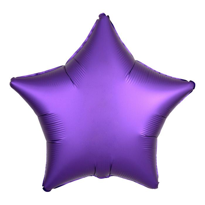 Шар фольгированный 18 Звезда, сатин, фиолетовый