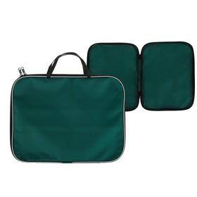 Папка с ручками текстиль А4 20 мм, 350*270 мм, офис, нейлон 600D, двуцветный кант, зелёная Ош