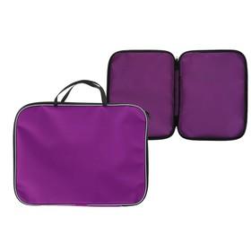Папка с ручками текстиль А4 20 мм, 350*270 мм, офис, нейлон 600D, двуцветный кант, фиолетовая Ош