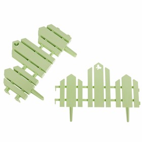 Ограждение декоративное, 25 × 170 см, 5 секций, пластик, салатовое, «Чудный сад» Ош