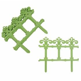 Ограждение декоративное, 33 × 267 см, 7 секций, пластик, салатовое, «Роскошный сад» Ош