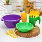 Набор посуды «Праздничный»: 4 стакана, 4 кружки, 4 тарелки, миска 3,5 л, 4 вилки, 4 ложки, цвет МИКС - Фото 13
