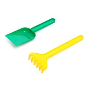Набор для игры в песке, совок и грабли, цвета МИКС Ош