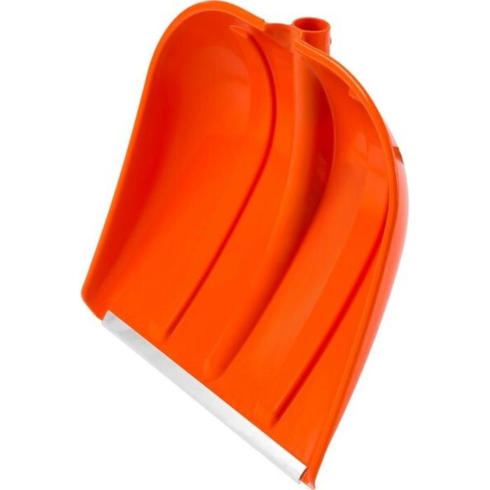 Ковш лопаты пластиковый, 410 × 415 мм, с алюминиевой планкой, без черенка, оранжевый