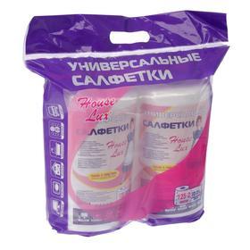 Салфетки для уборки универсальные 22×23 см, 2 рулона по 125 шт, спанлейс