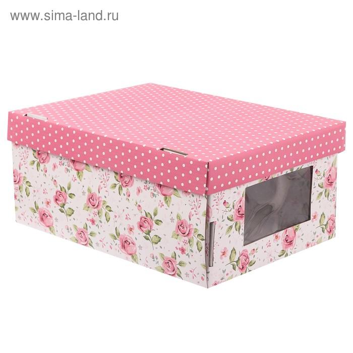 Складная коробка с PVC окошком «Цветочный водоворот», 34 × 23 × 15 см